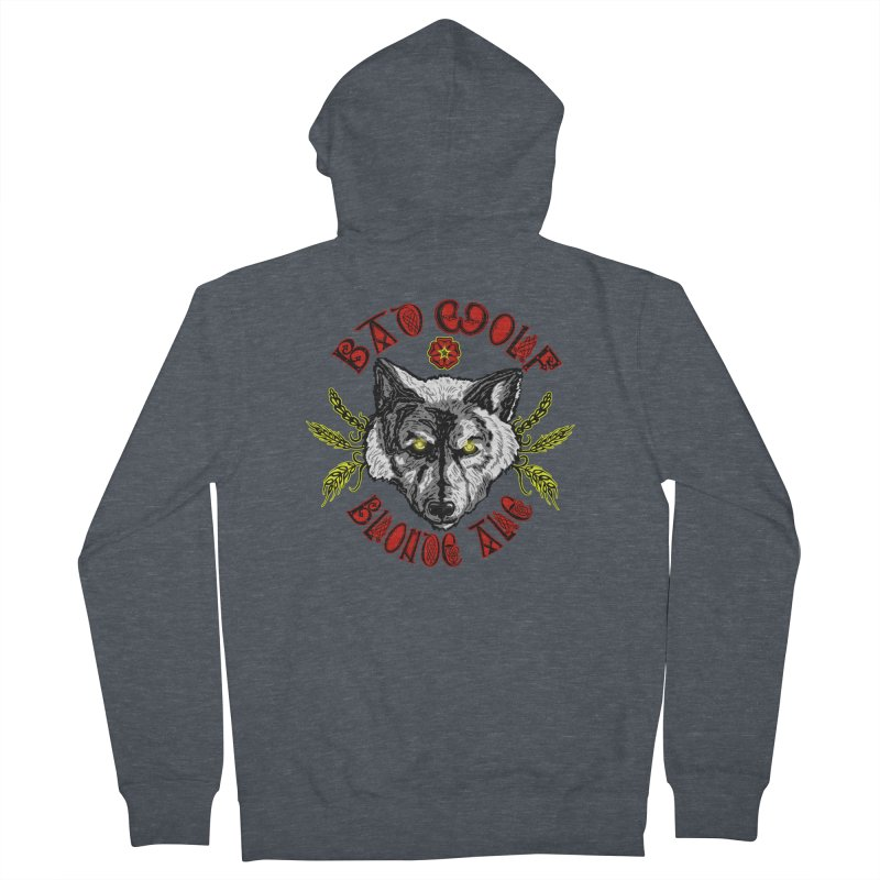 Bad Wolf Blonde Ale Men's French Terry Zip-Up Hoody by Magickal Vision: The Art of Jolie E. Bonnette