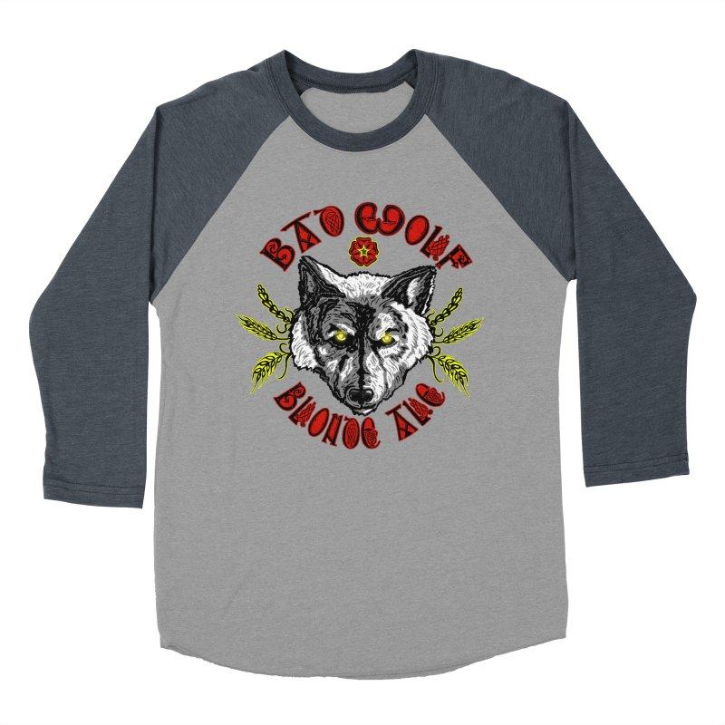 Bad Wolf Blonde Ale Men's Baseball Triblend Longsleeve T-Shirt by Magickal Vision: The Art of Jolie E. Bonnette
