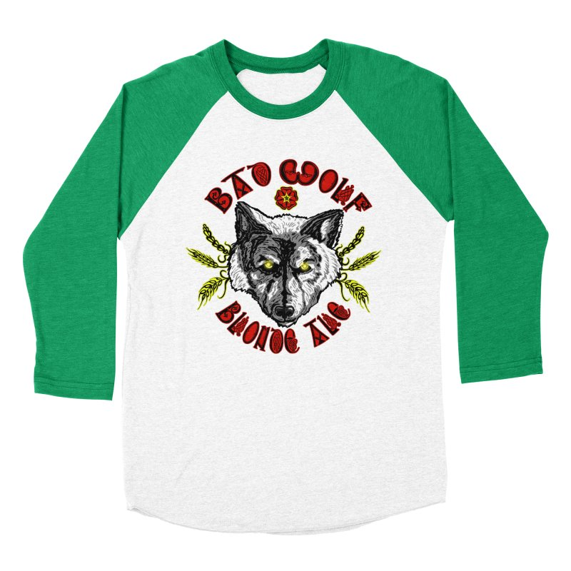 Bad Wolf Blonde Ale Men's Baseball Triblend Longsleeve T-Shirt by Magickal Vision: The Art of Jolie E. Bonnette