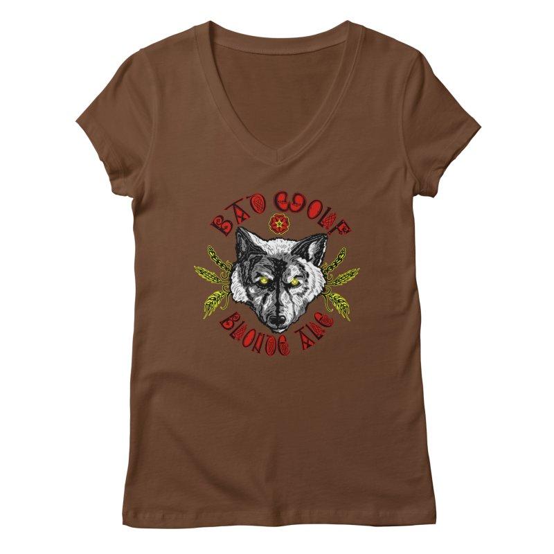 Bad Wolf Blonde Ale Women's V-Neck by Magickal Vision: The Art of Jolie E. Bonnette