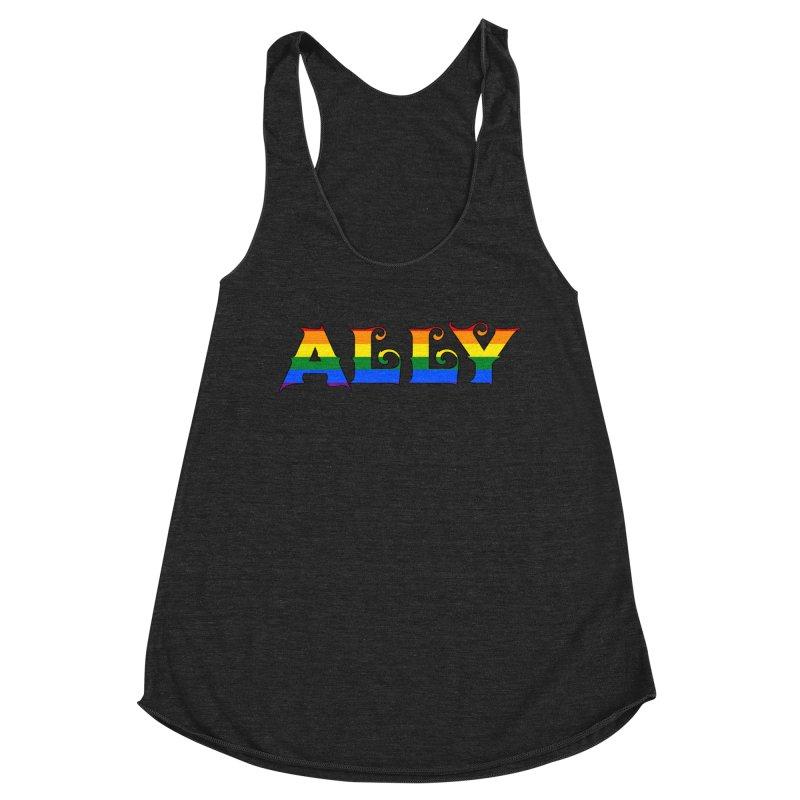 LGBTQ Ally Women's Racerback Triblend Tank by Magickal Vision: The Art of Jolie E. Bonnette
