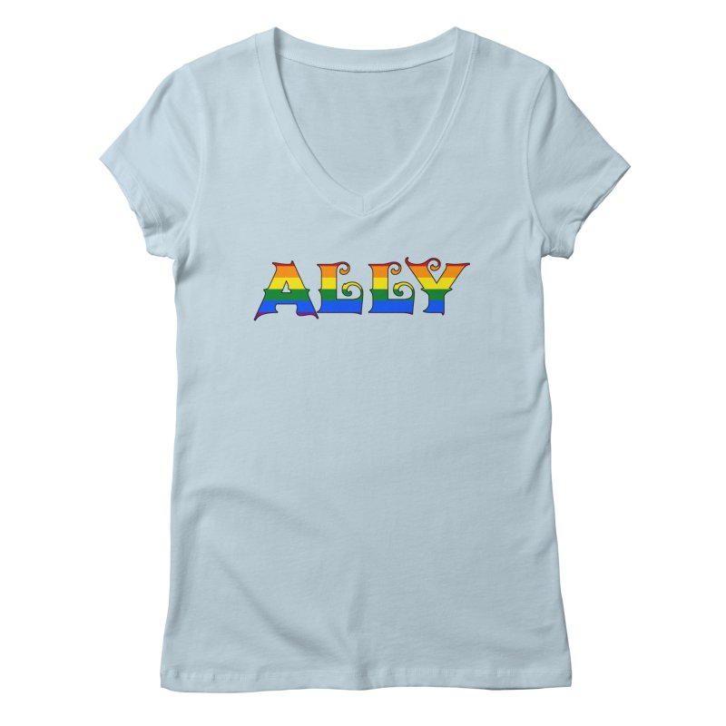 LGBTQ Ally Women's Regular V-Neck by Magickal Vision: The Art of Jolie E. Bonnette