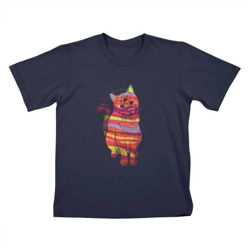 trippy kitty v4 Kids T-Shirt by Jonah Makes Art