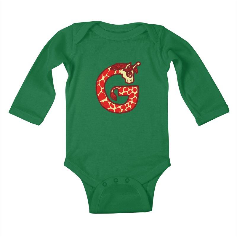 G is for Giraffe Kids Baby Longsleeve Bodysuit by Jonah Makes Art