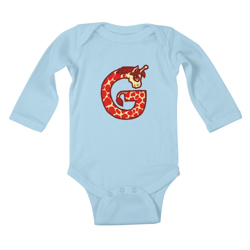 G is for Giraffe Kids Baby Longsleeve Bodysuit by Jonah Makes Art