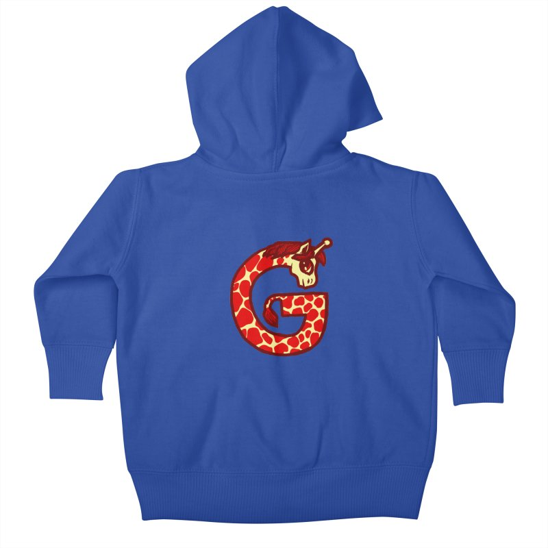G is for Giraffe Kids Baby Zip-Up Hoody by Jonah Makes Art