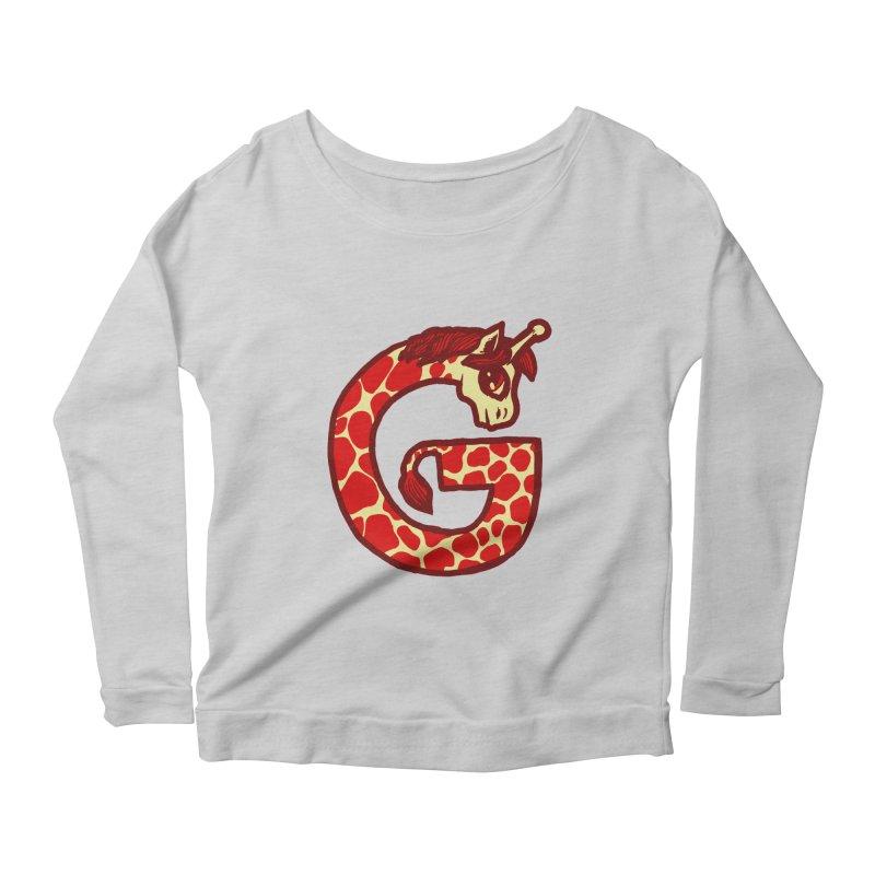 G is for Giraffe Women's Longsleeve Scoopneck  by Jonah Makes Art