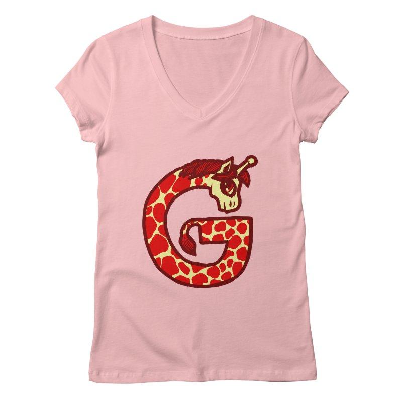 G is for Giraffe Women's V-Neck by Jonah Makes Art