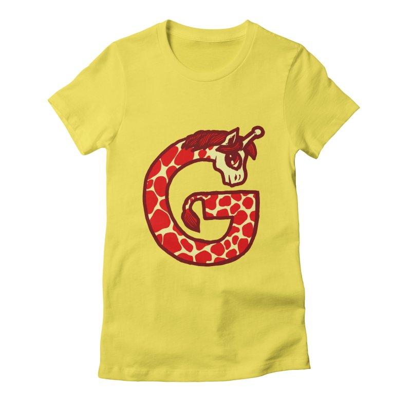 G is for Giraffe Women's Fitted T-Shirt by Jonah Makes Art