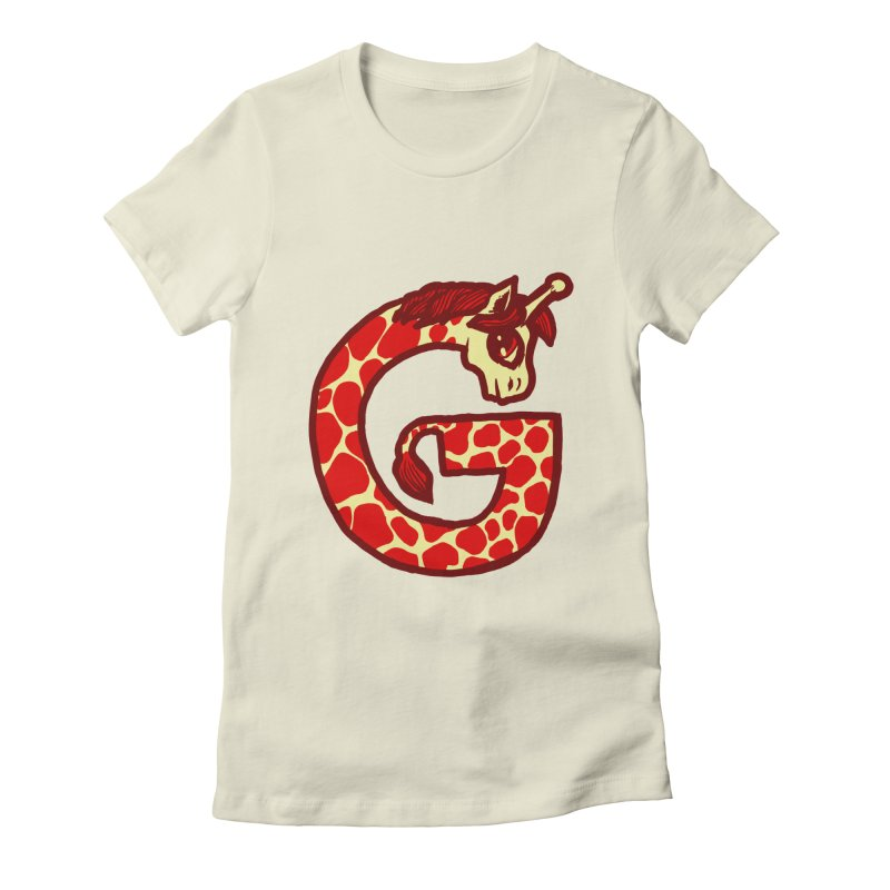 G is for Giraffe Women's Fitted T-Shirt by Jonah Makes Art
