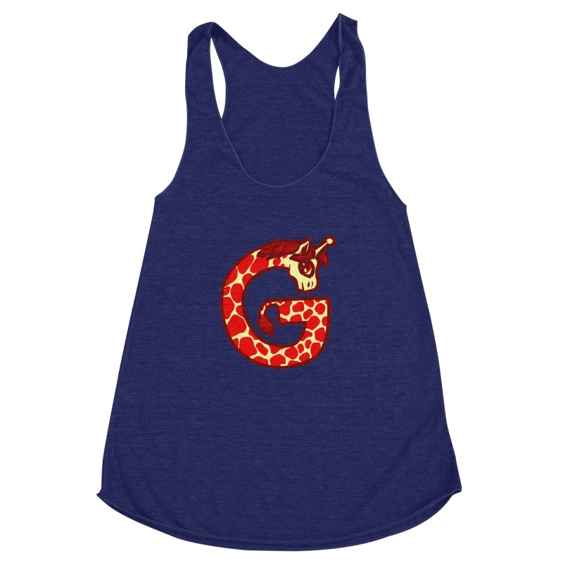 G is for Giraffe Women's Racerback Triblend Tank by Jonah Makes Art