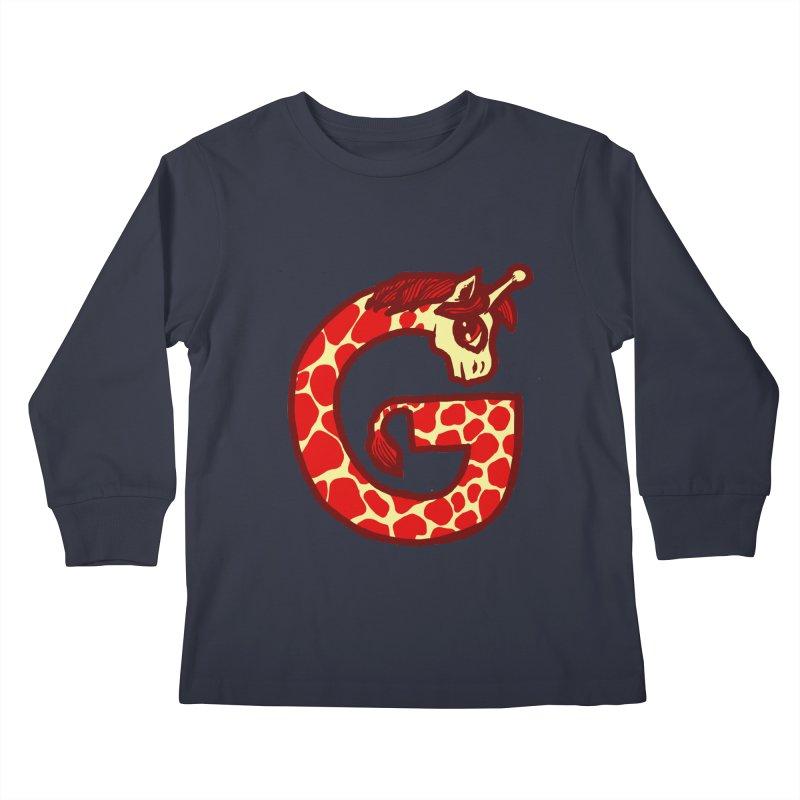 G is for Giraffe Kids Longsleeve T-Shirt by Jonah Makes Art