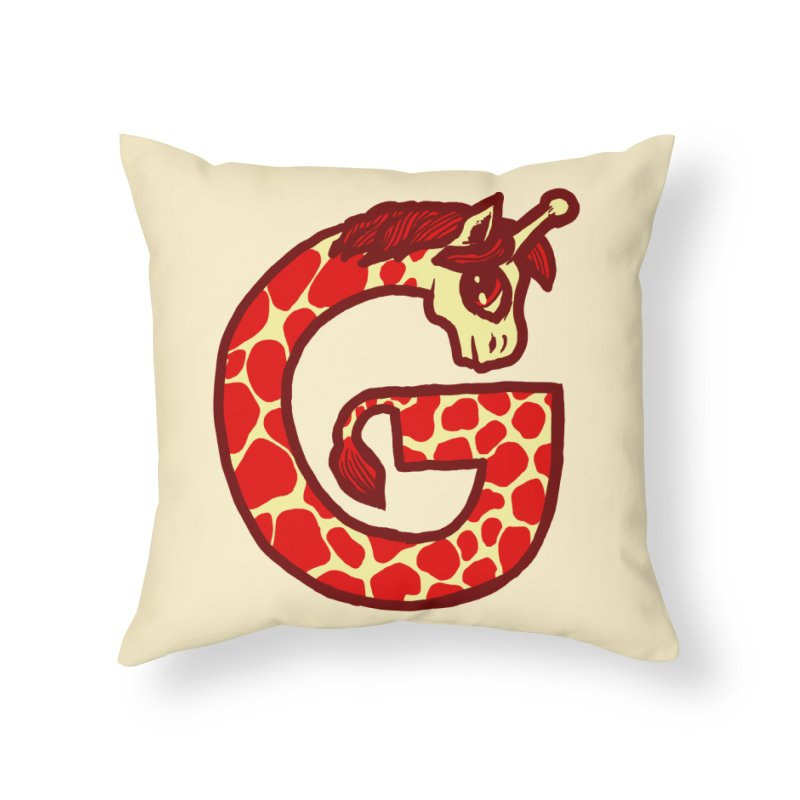 G is for Giraffe Home Throw Pillow by Jonah Makes Art