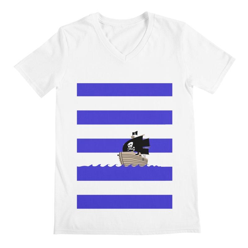 Striped pirate shirt Men's V-Neck by Jonah Makes Art