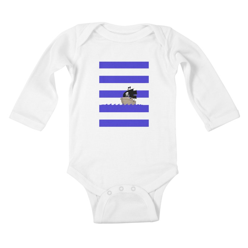 Striped Pirate Shirt Kids Baby Longsleeve Bodysuit by Jonah Makes Art