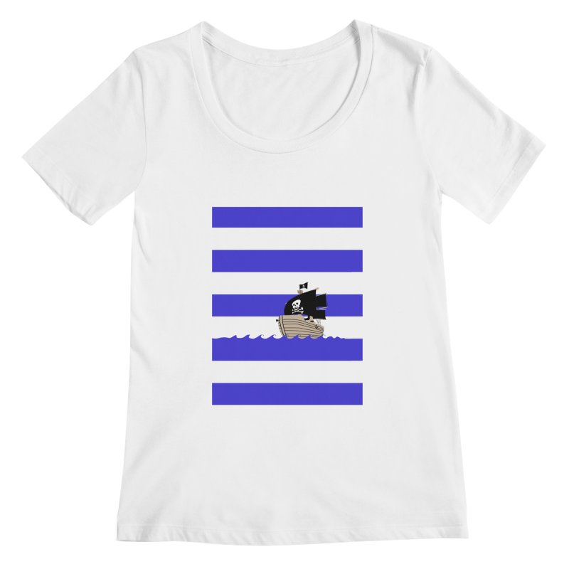 Striped pirate shirt Women's Scoopneck by Jonah Makes Art