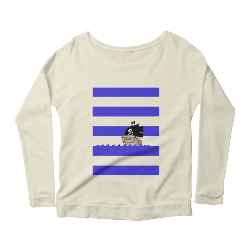 Striped pirate shirt Women's Longsleeve Scoopneck  by Jonah Makes Art