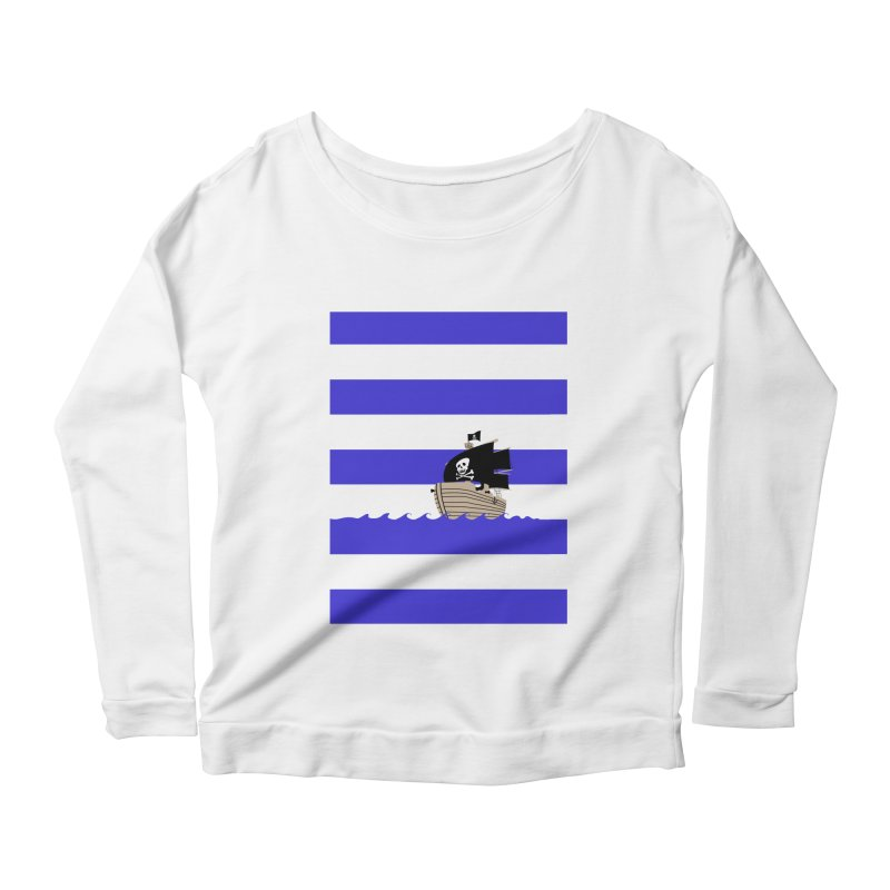 Striped pirate shirt Women's Longsleeve Scoopneck  by Jonah Makes Art