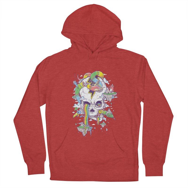 Flying Rainbow Skull Island  Women's Pullover Hoody by Jonah Makes Art