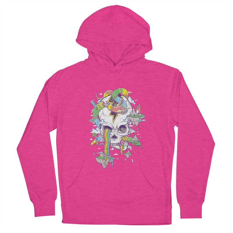 Flying Rainbow Skull Island  Women's Pullover Hoody by Jonah Makes Art