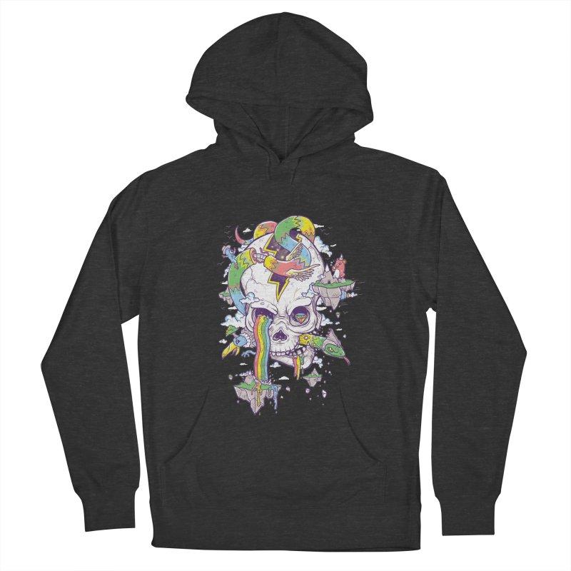 Flying Rainbow Skull Island  Men's Pullover Hoody by Jonah Makes Art