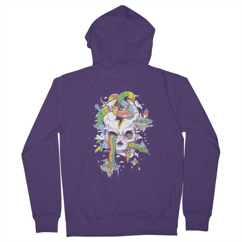 Flying Rainbow Skull Island  Women's Zip-Up Hoody by Jonah Makes Art