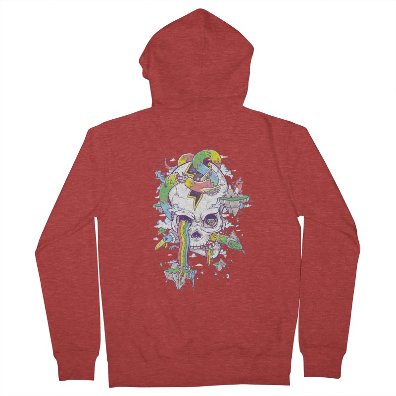Flying Rainbow Skull Island  Men's Zip-Up Hoody by Jonah Makes Art