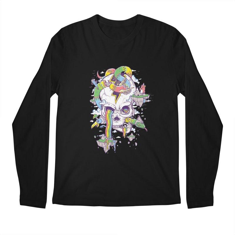 Flying Rainbow Skull Island  Men's Longsleeve T-Shirt by Jonah Makes Art