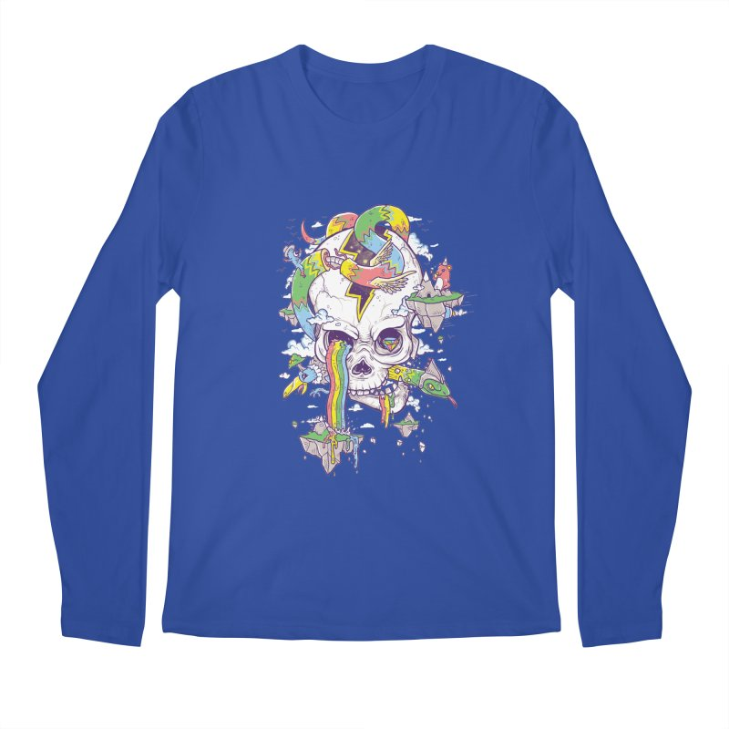Flying Rainbow Skull Island  Men's Longsleeve T-Shirt by Jonah Makes Art