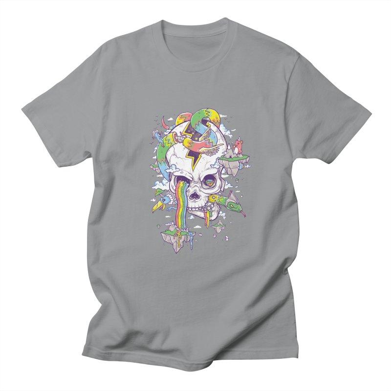 Flying Rainbow Skull Island  Men's T-shirt by Jonah Makes Art