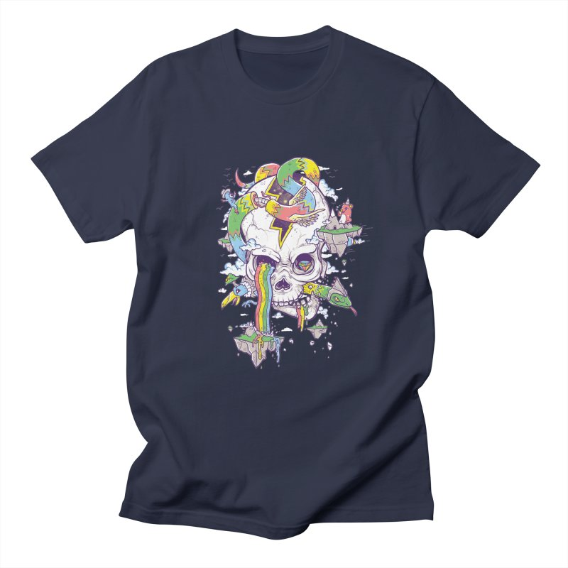 Flying Rainbow Skull Island  Men's T-shirt by Jonah Makes Art