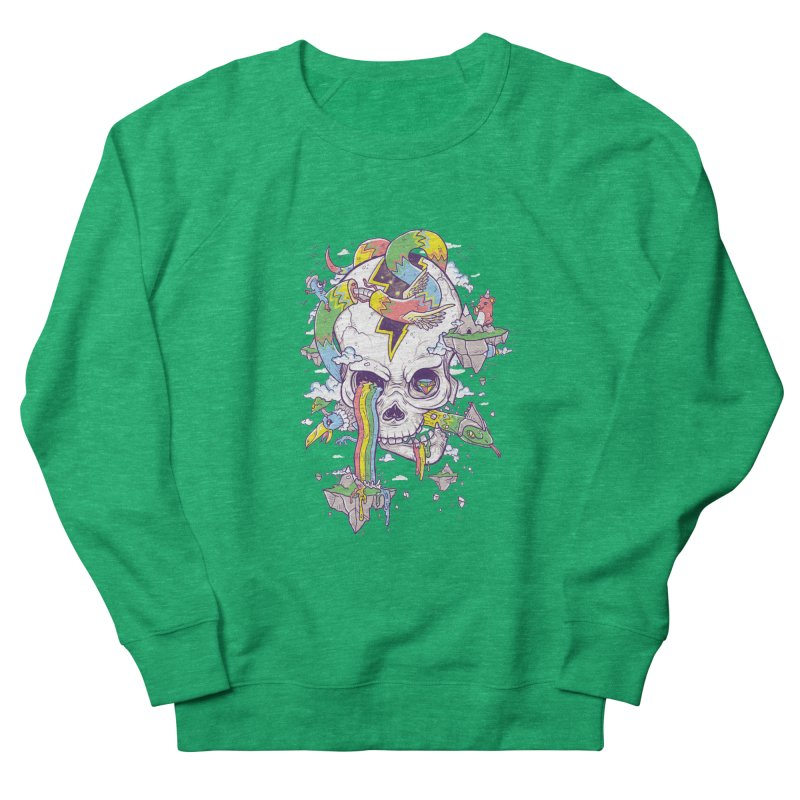 Flying Rainbow Skull Island  Women's Sweatshirt by Jonah Makes Art