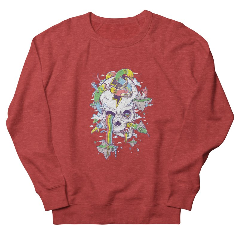 Flying Rainbow Skull Island  Men's Sweatshirt by Jonah Makes Art