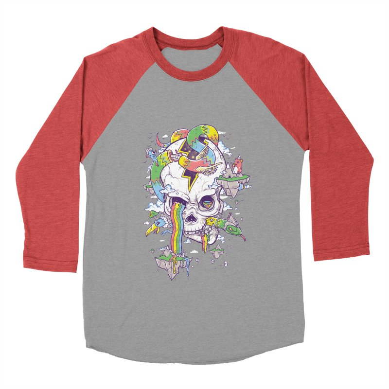 Flying Rainbow Skull Island  Women's Baseball Triblend T-Shirt by Jonah Makes Art