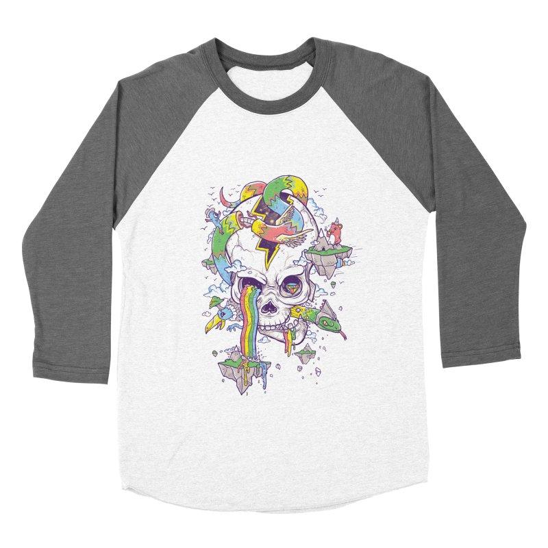 Flying Rainbow Skull Island  Men's Baseball Triblend T-Shirt by Jonah Makes Art