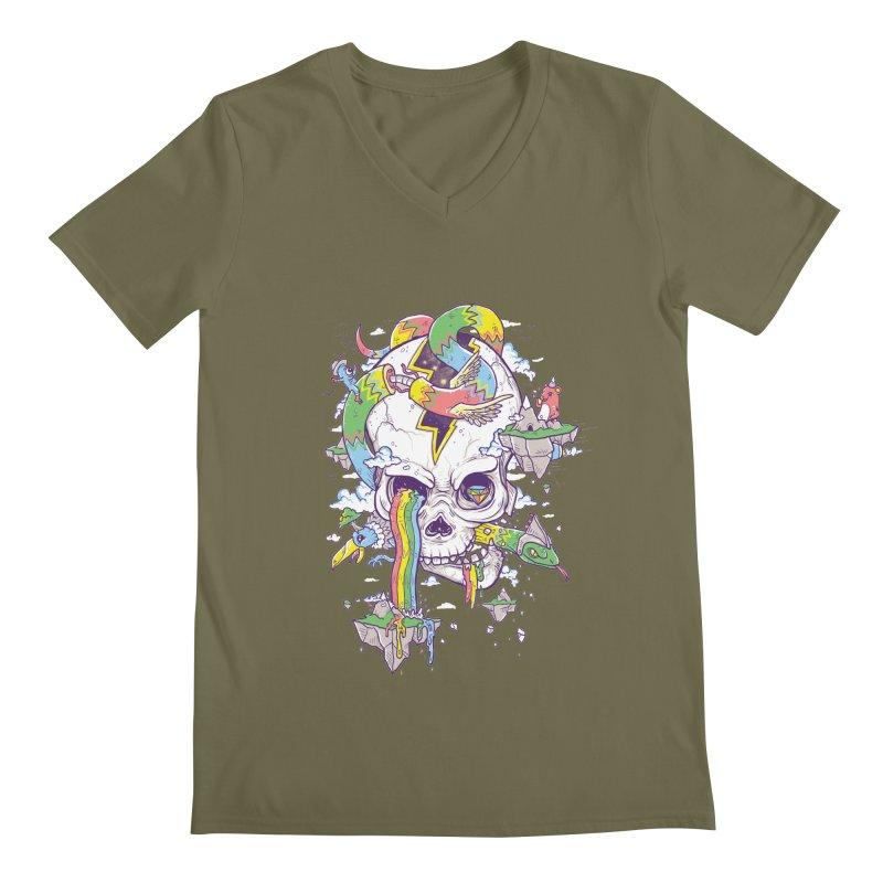 Flying Rainbow Skull Island  Men's V-Neck by Jonah Makes Art