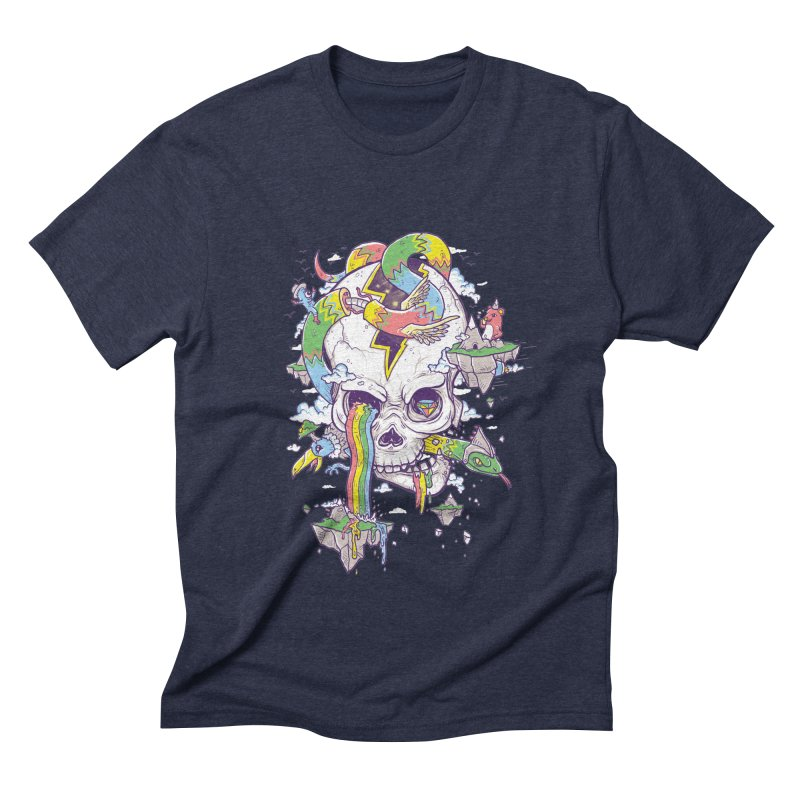 Flying Rainbow Skull Island  Men's Triblend T-shirt by Jonah Makes Art