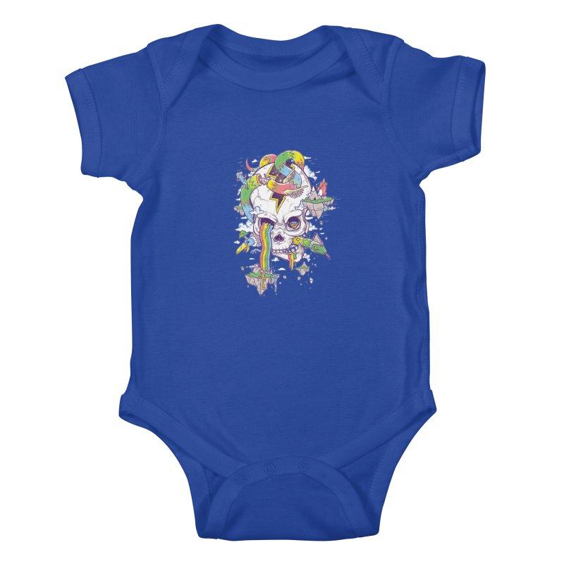 Flying Rainbow Skull Island  Kids Baby Bodysuit by Jonah Makes Art