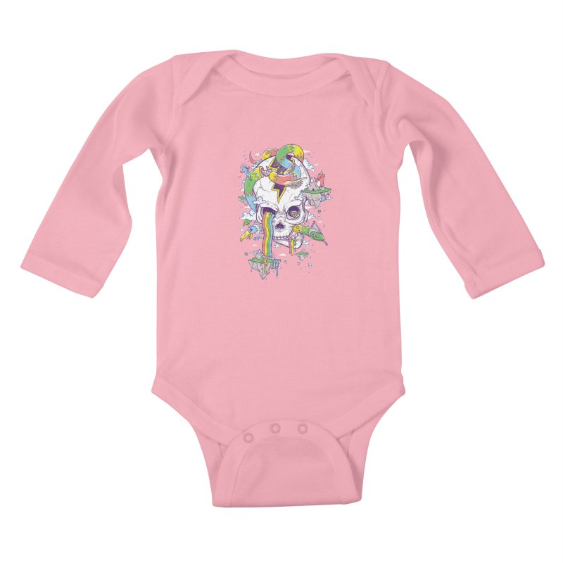 Flying Rainbow Skull Island  Kids Baby Longsleeve Bodysuit by Jonah Makes Art