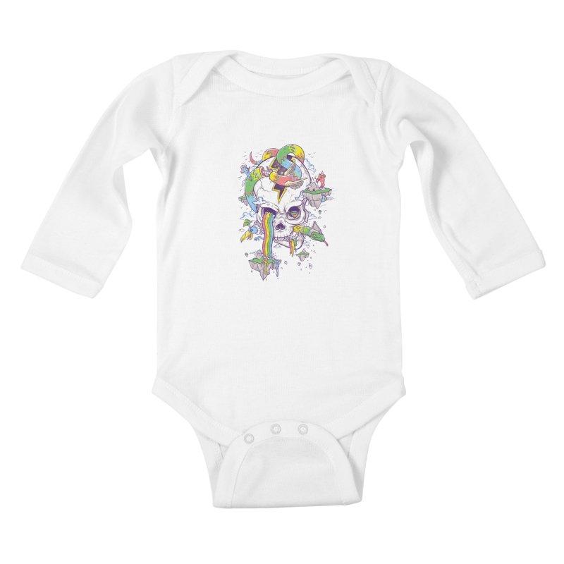Flying Rainbow Skull Island  Kids Baby Longsleeve Bodysuit by Jonah Makes Art