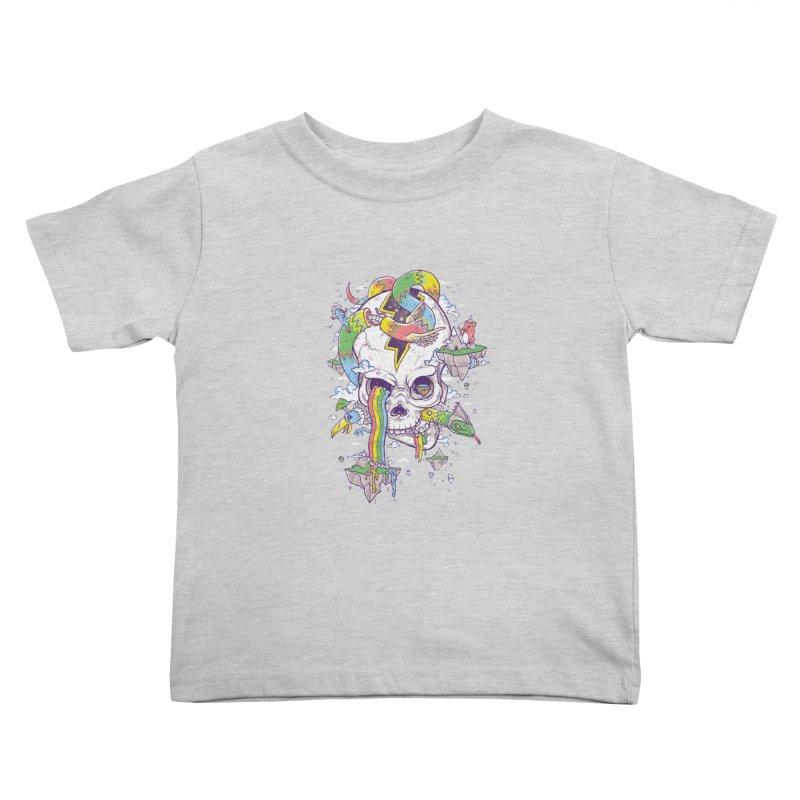 Flying Rainbow Skull Island  Kids Toddler T-Shirt by Jonah Makes Art