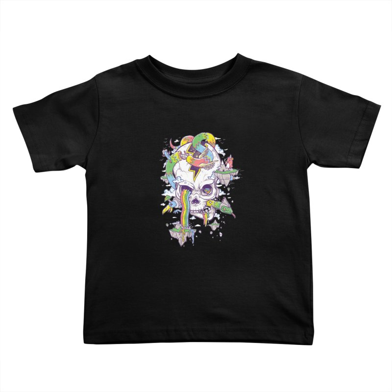 Flying Rainbow Skull Island  Kids Toddler T-Shirt by Jonah Makes Art