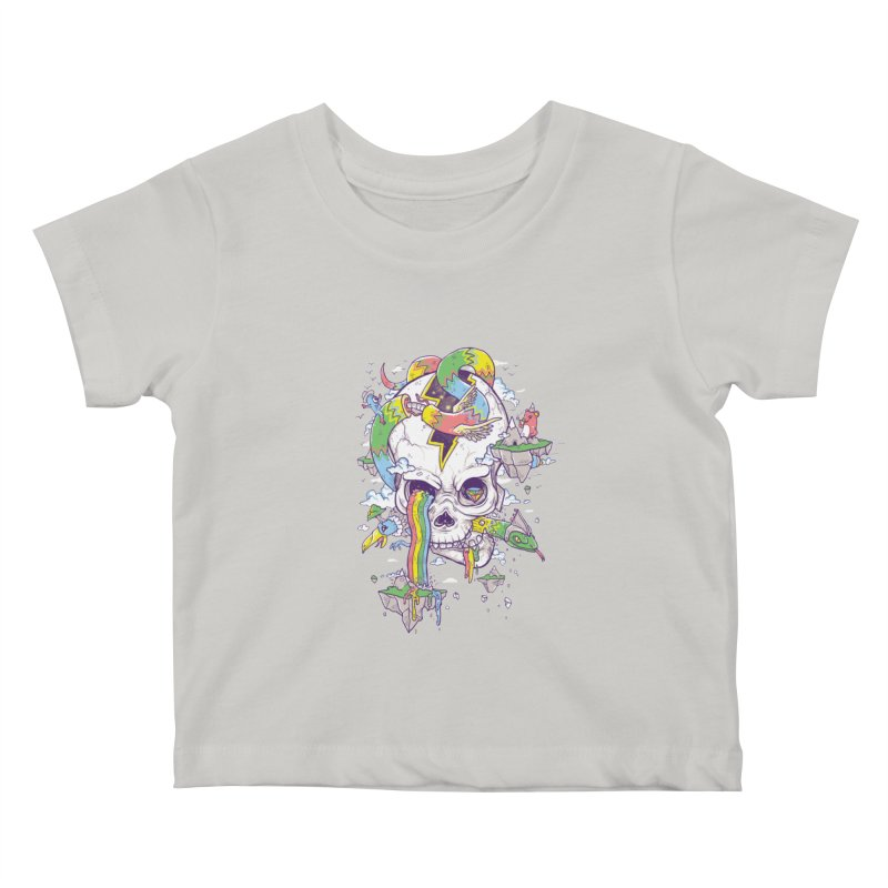 Flying Rainbow Skull Island  Kids Baby T-Shirt by Jonah Makes Art