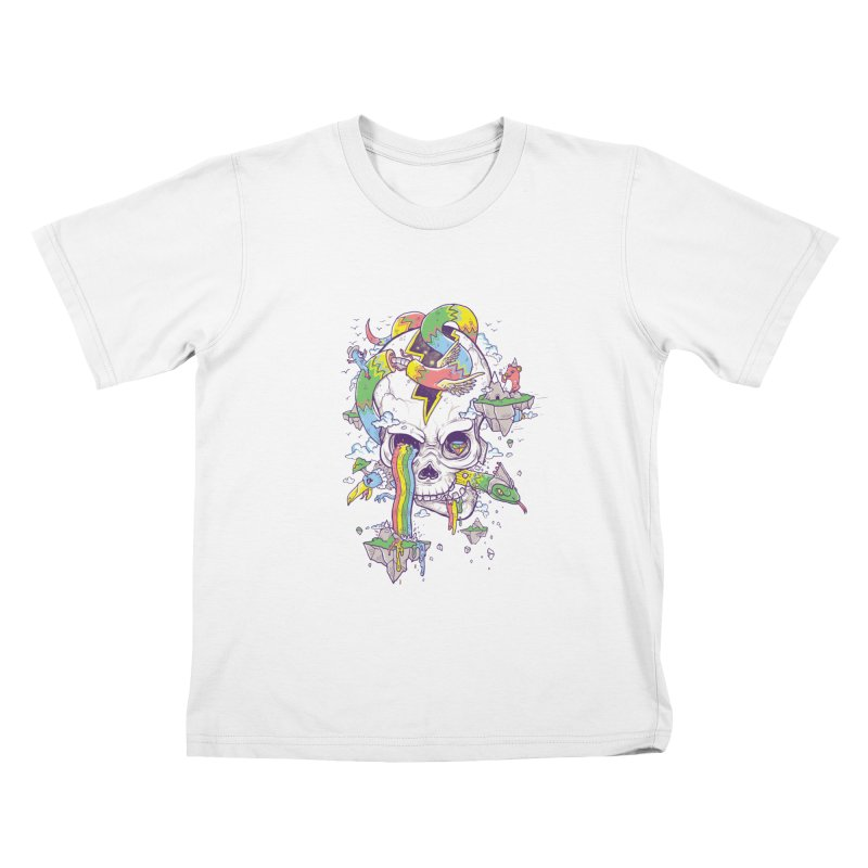 Flying Rainbow Skull Island  Kids T-Shirt by Jonah Makes Art
