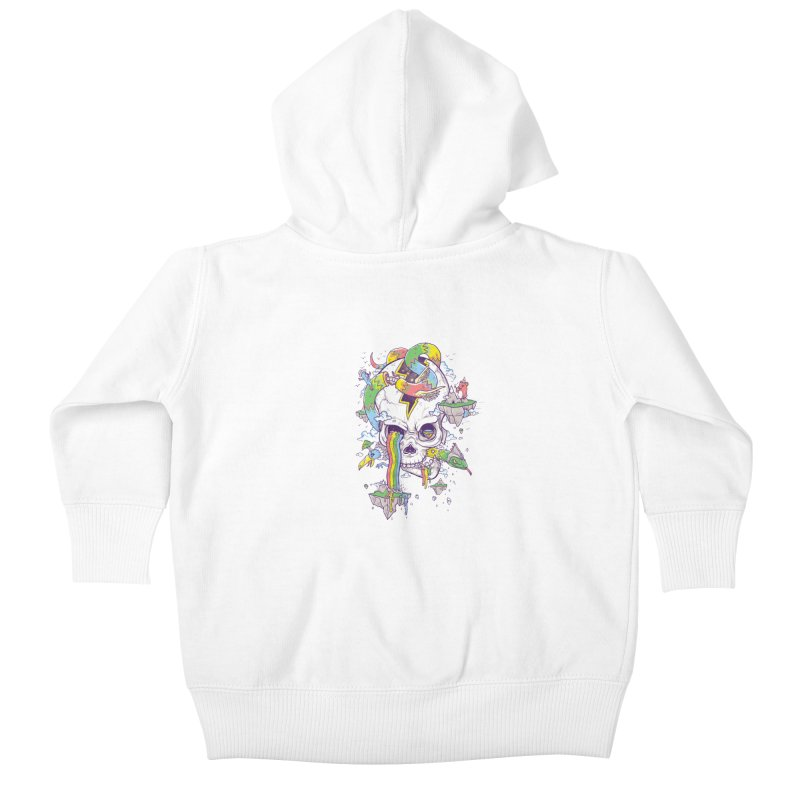 Flying Rainbow Skull Island  Kids Baby Zip-Up Hoody by Jonah Makes Art