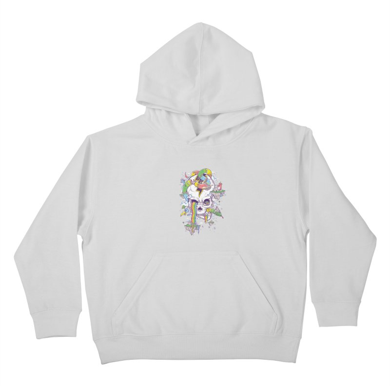 Flying Rainbow Skull Island  Kids Pullover Hoody by Jonah Makes Art