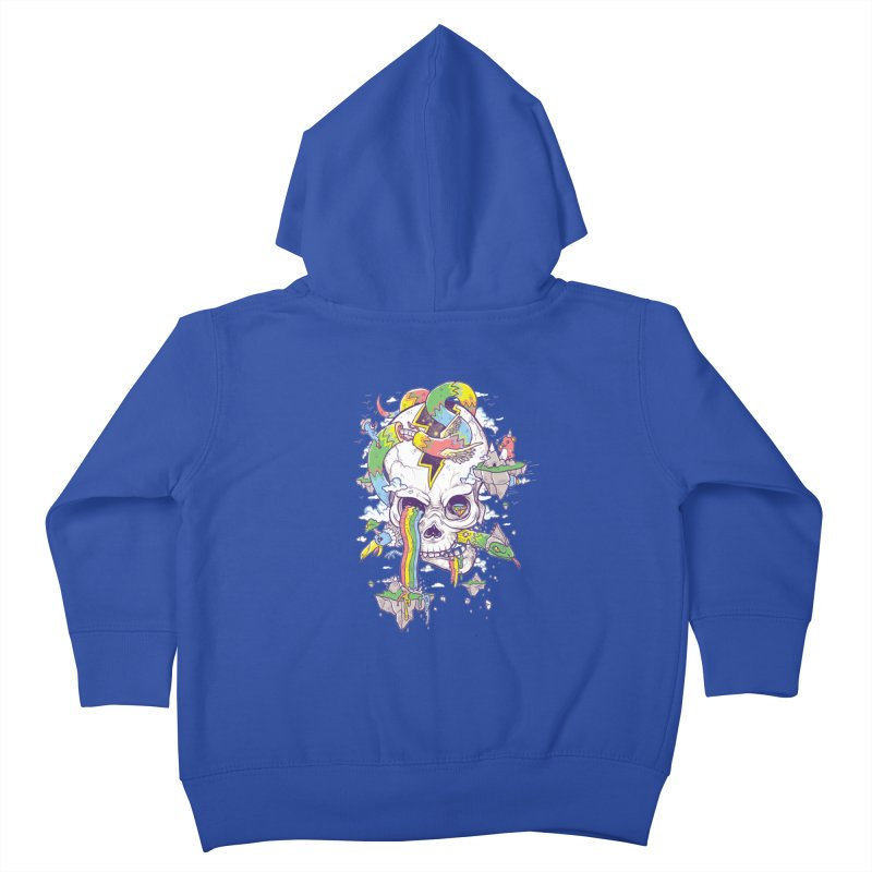 Flying Rainbow Skull Island  Kids Toddler Zip-Up Hoody by Jonah Makes Art