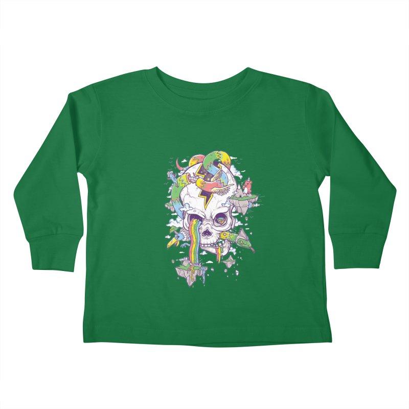 Flying Rainbow Skull Island  Kids Toddler Longsleeve T-Shirt by Jonah Makes Art