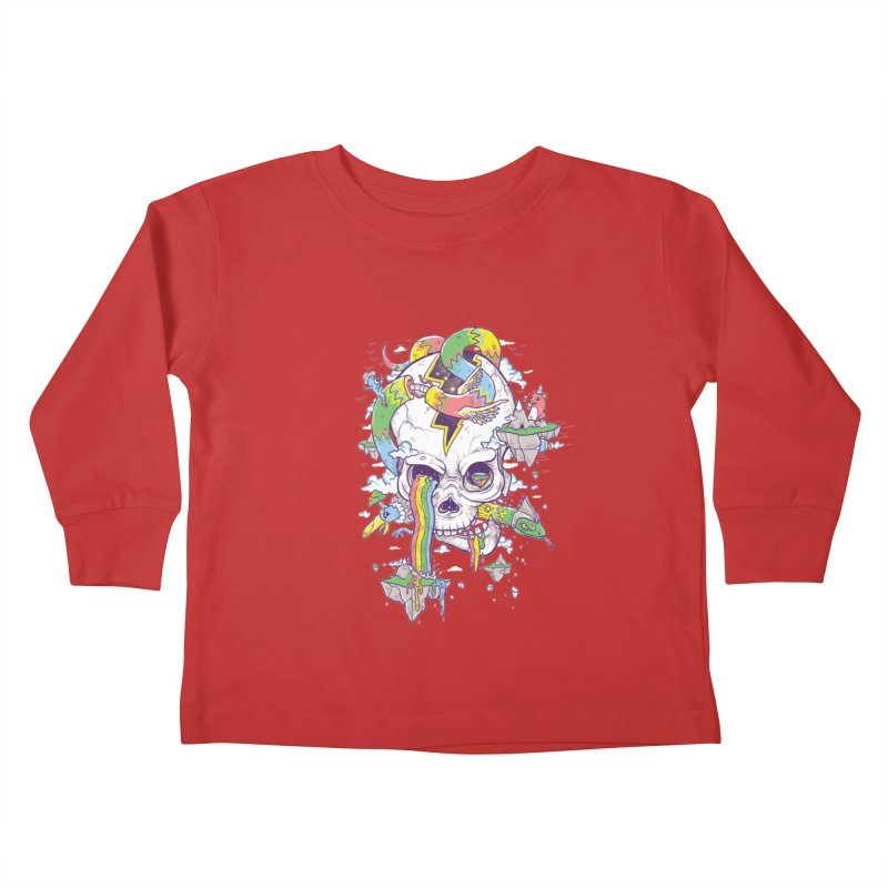 Flying Rainbow Skull Island  Kids Toddler Longsleeve T-Shirt by Jonah Makes Art