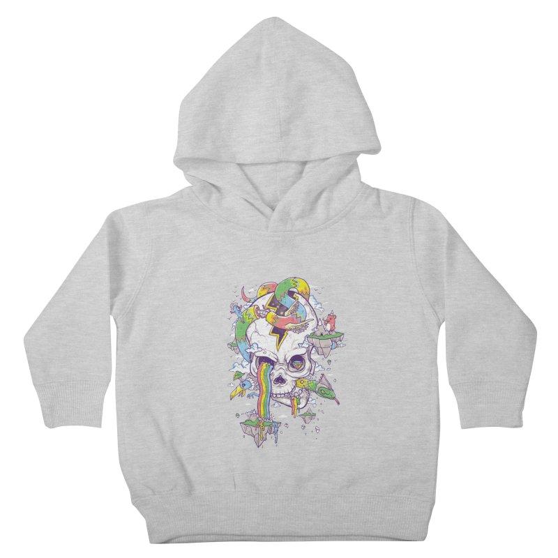 Flying Rainbow Skull Island  Kids Toddler Pullover Hoody by Jonah Makes Art